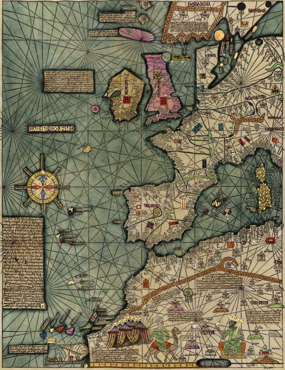 Painting of 1374-5 Catalan Atlas, c. 1959, Rubenstein Library, Duke